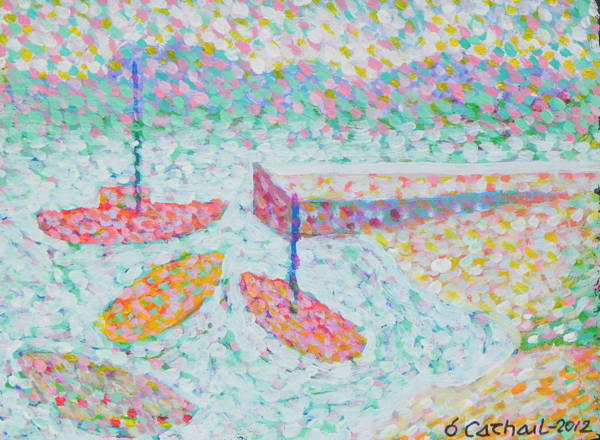 <h4>Boats at Cuan</h4><p>Acrylic on Canvas / 30 x 40 cm -&nbsp; €300</p>